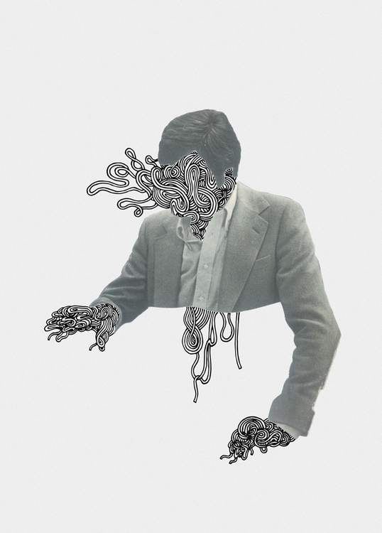 UNRAVELLING MAN - drawing, collage - kimbogruff | ello
