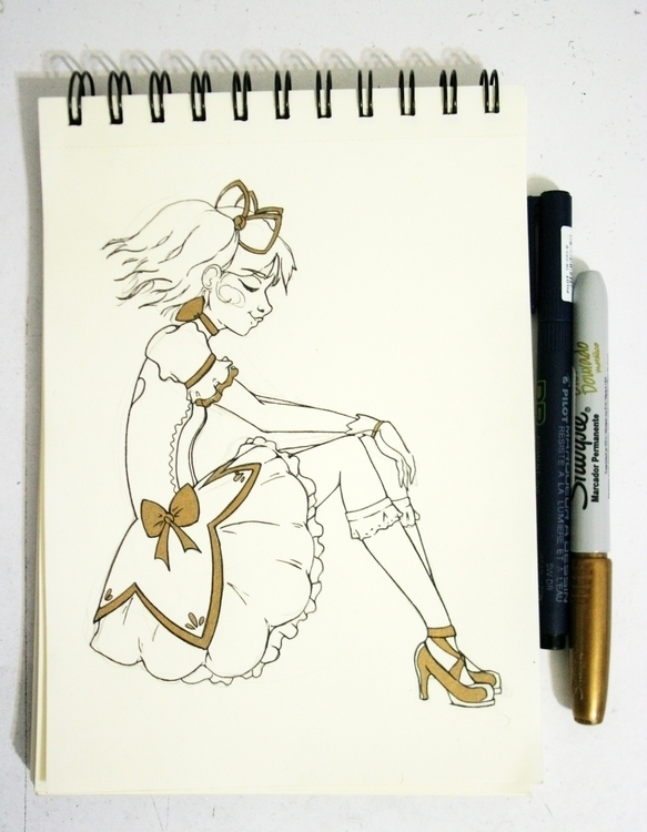 Madoka Kaname - Golden Ink - illustration - serranov | ello