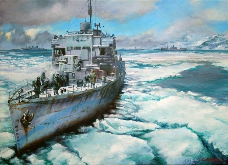 Russian Convoy - painting, warships - kevinclarkson-1133 | ello