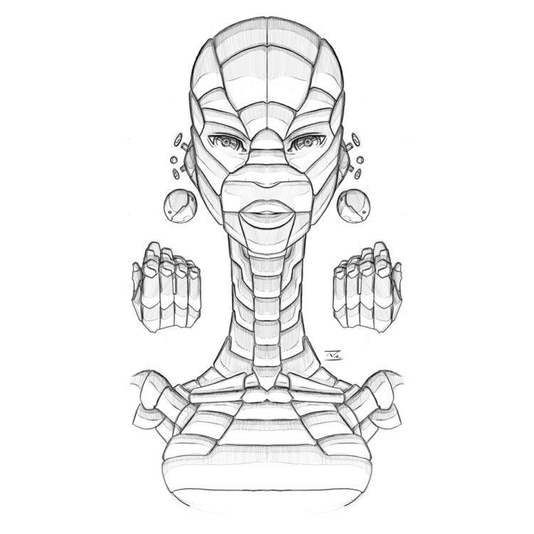 Afro-Mecha Series Piece Affix - illustration - theonewillfocus | ello