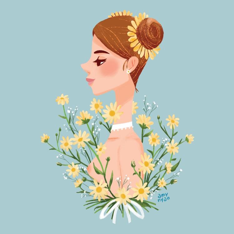 GirlFlowers (Daisy - illustration - amynyan   ello