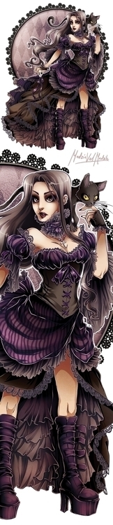 gothic, goth, girl, illustration - madziavelmadzik | ello
