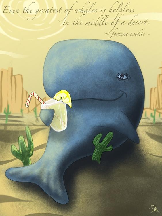 favorites - Whale, desert, illustration - dmerchen | ello