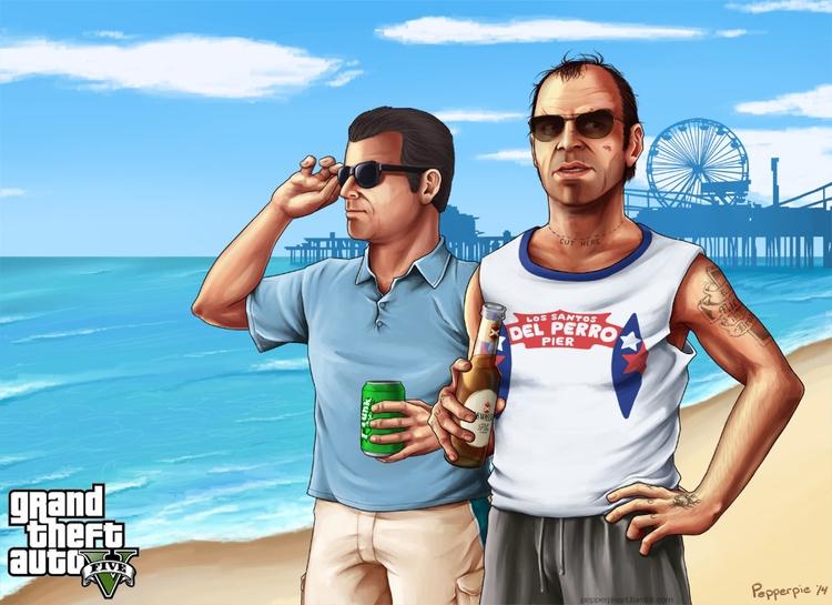 Fanart Michael Trevor GTA - illustration - vusionary | ello