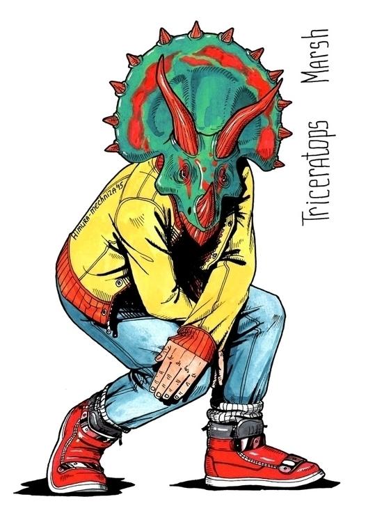 Fashionable dino - dinosaur, triceratops - himura_mechniza | ello