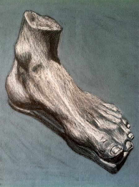 Foot Study- pencil white pastel - mallorycogut | ello