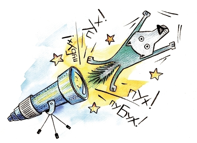 wolf telescope - illustration - usova_julia | ello