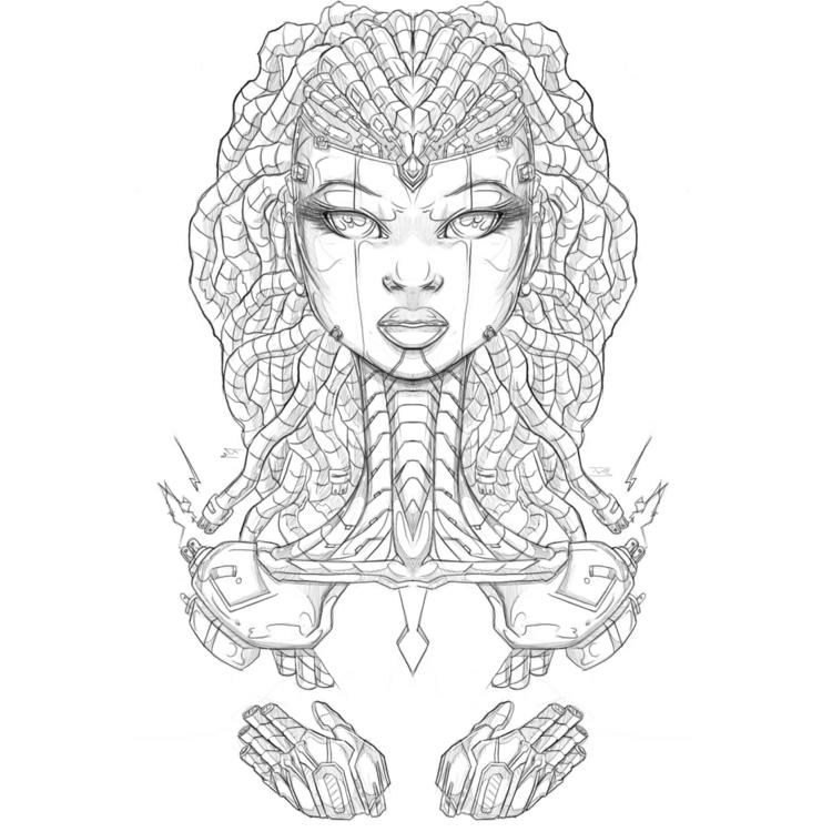 Afro-Mecha Series Piece - illustration - theonewillfocus | ello