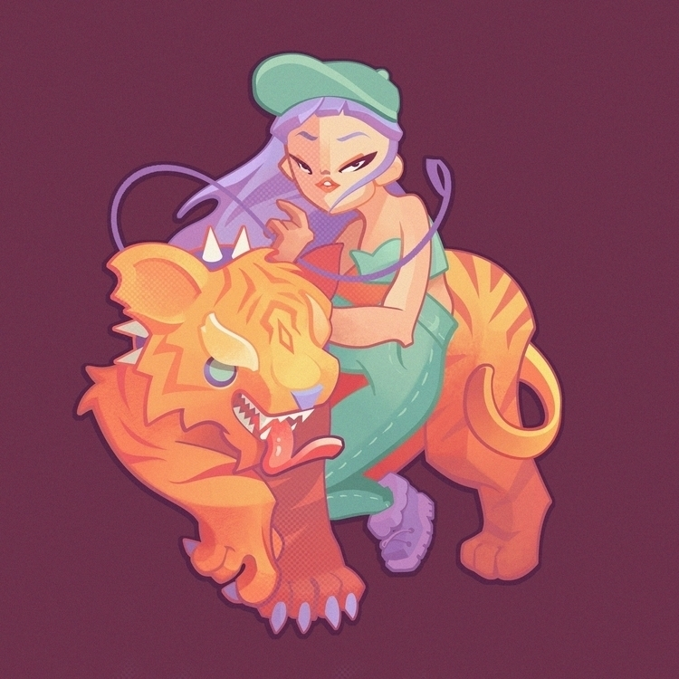 walking pet tiger - illustration - skye-1127 | ello