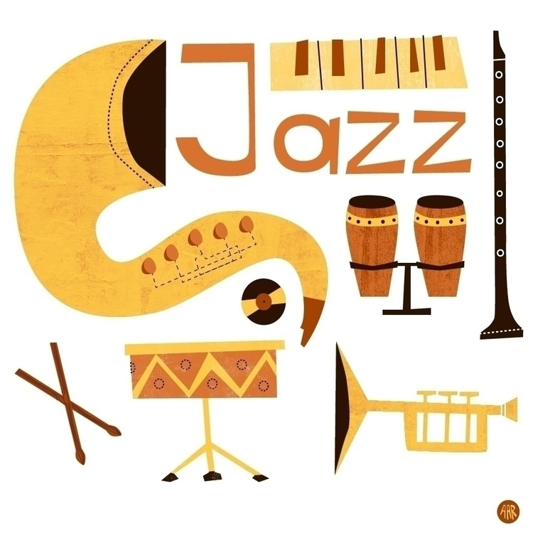 illustration, jazz, saxophone - sweatshopillustrations | ello