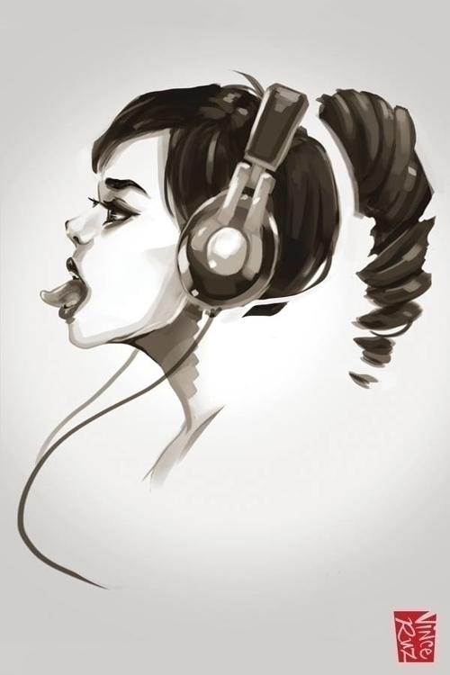 Headphone Girl - illustration, sketch - vinceruz   ello