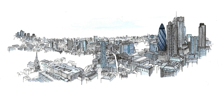 Broadgate Tower - illustration, london - alexanderashby | ello