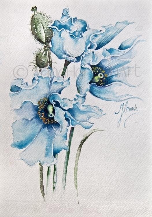 Blue Wind (Blue Poppies) -water - annahannahart | ello