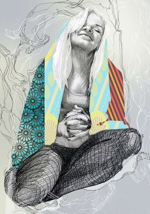 Prayer - illustration, woman, colourful - kasia_urbaniak | ello
