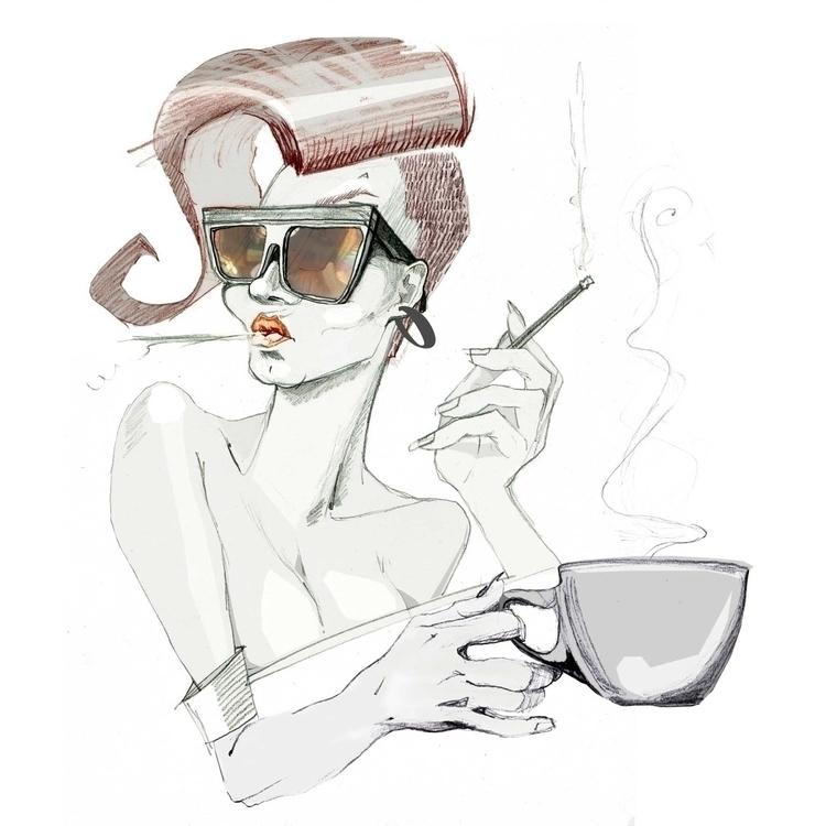 coffee cigarettes - illustration - kasia_urbaniak | ello
