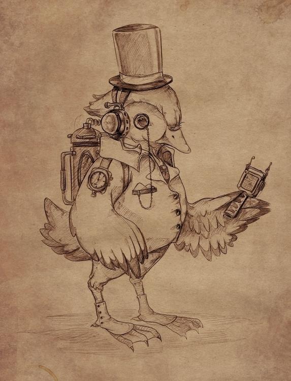 duck, drawing, pencil, illustration - rainydaycloud | ello