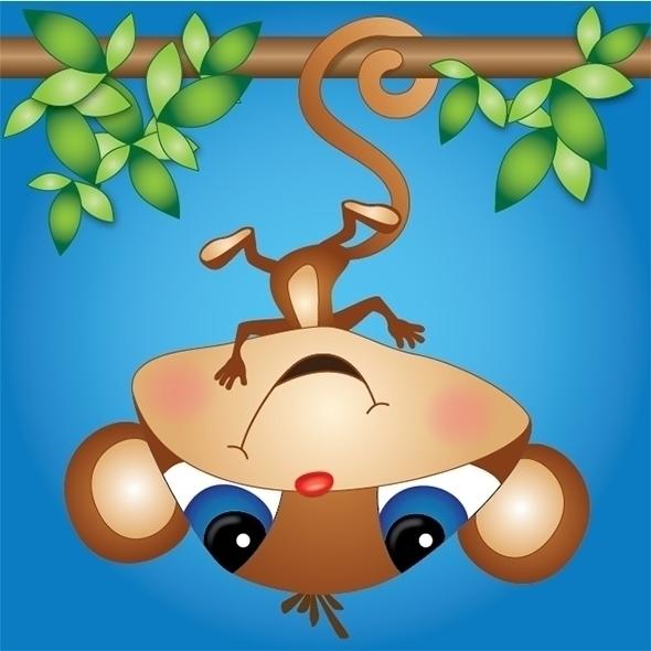 Hangin - monkey, kathyvoergart, illustration - kvoerg | ello