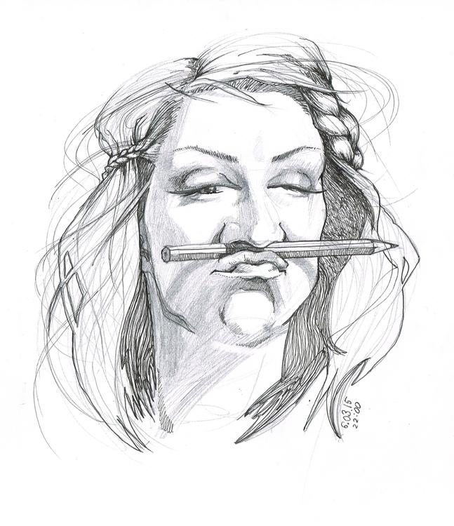 Lazy Sunday - selfportrait, pencildrawing - kasia_urbaniak | ello