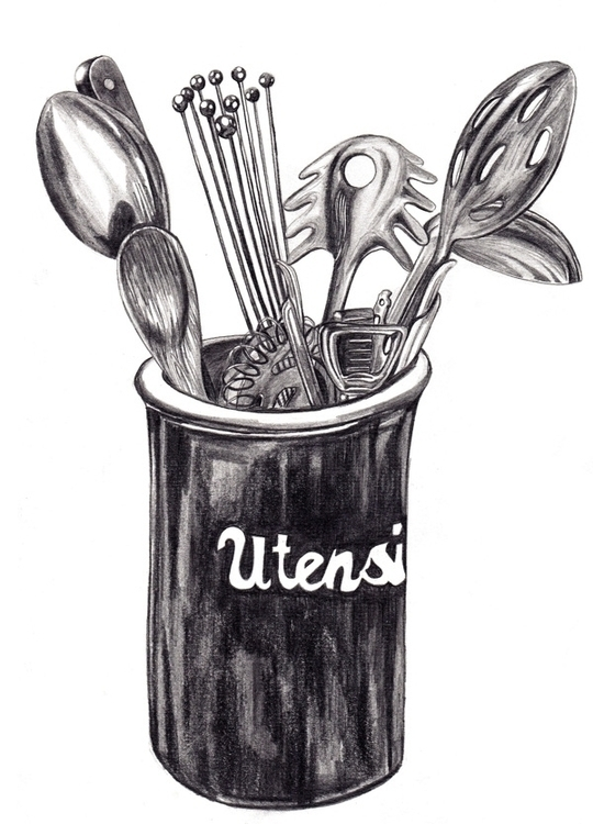 Utensil Sketch - pencil, stilllife - toraillustrates | ello
