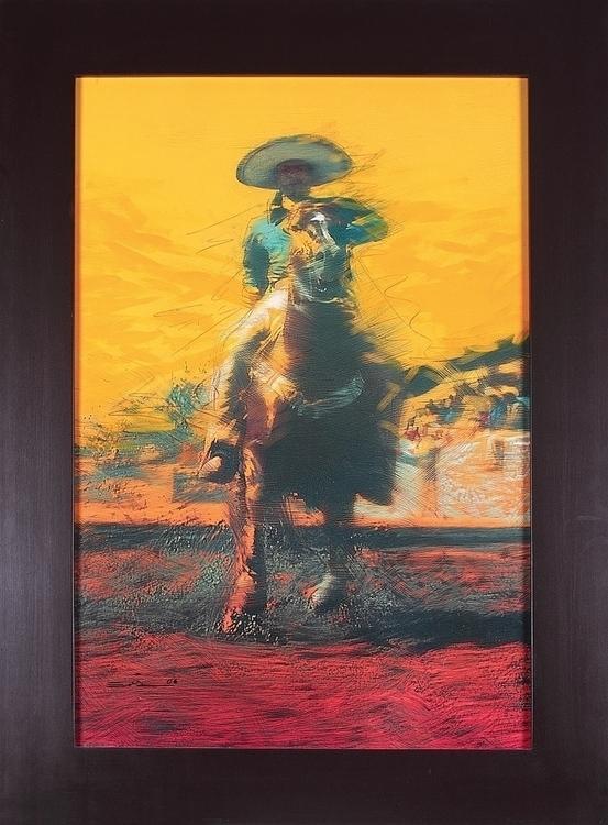 Yellow sky 2004 - horses, emiliogarciaart - emilioartist | ello