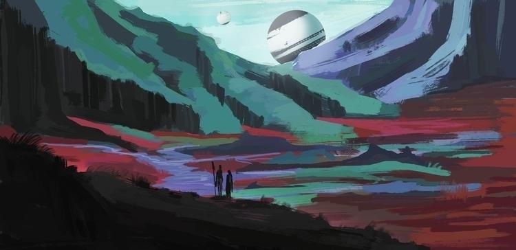 Space, landscape, painting - bas-1355 | ello