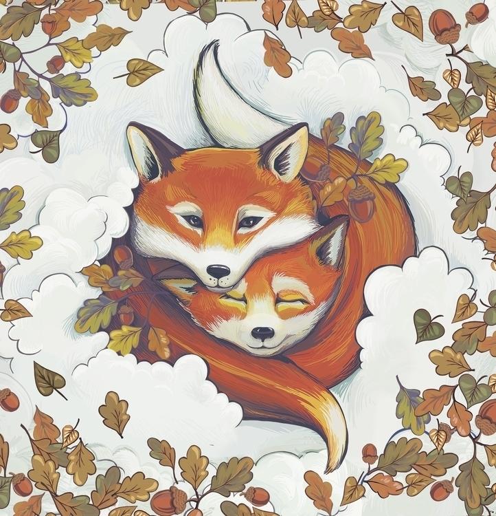 Foxes - illustration, design - julykoss | ello