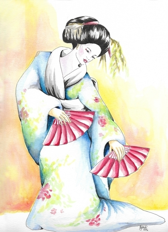 Geisha 4 watercolor 9x12 - illustration - yaksiart | ello
