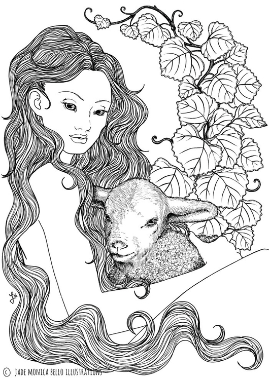 illustration, drawing, lamb, nymph - jade_ideg | ello