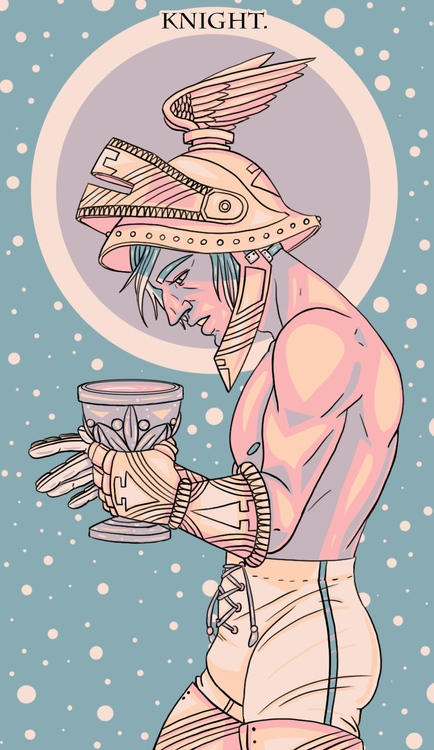 Knight Cups - tarot, illustration - wingywonky-5811 | ello