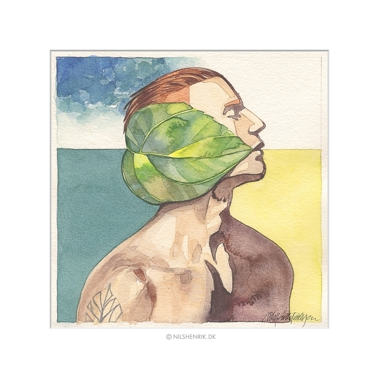 Green Leaf 2 - watercolor, painting - nilshenrikdk | ello