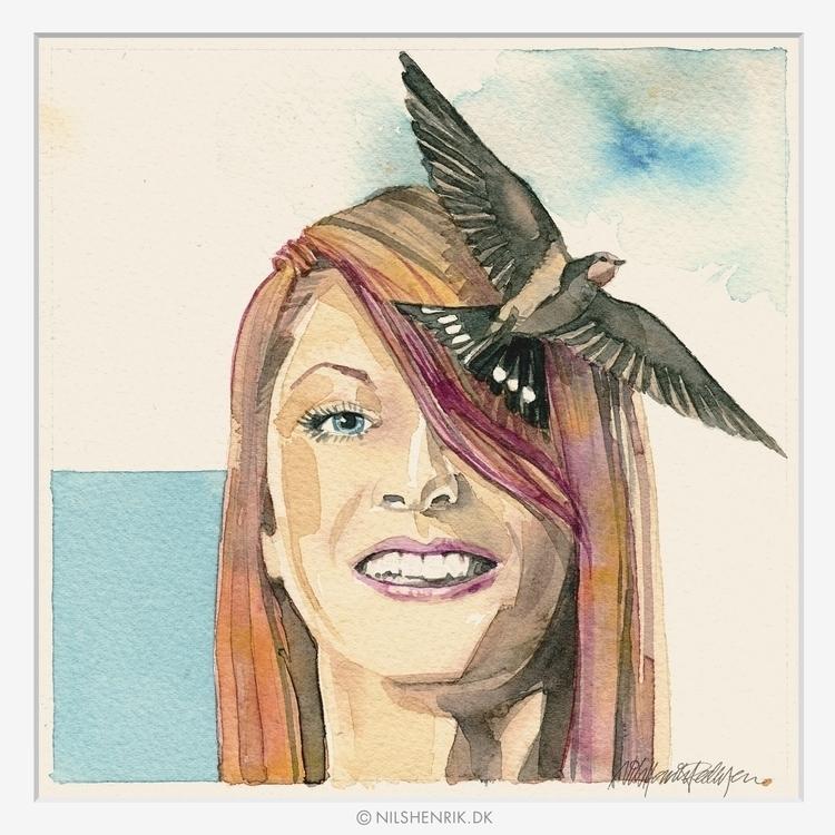 Girl Swallow - girl, bird, swallow - nilshenrikdk | ello