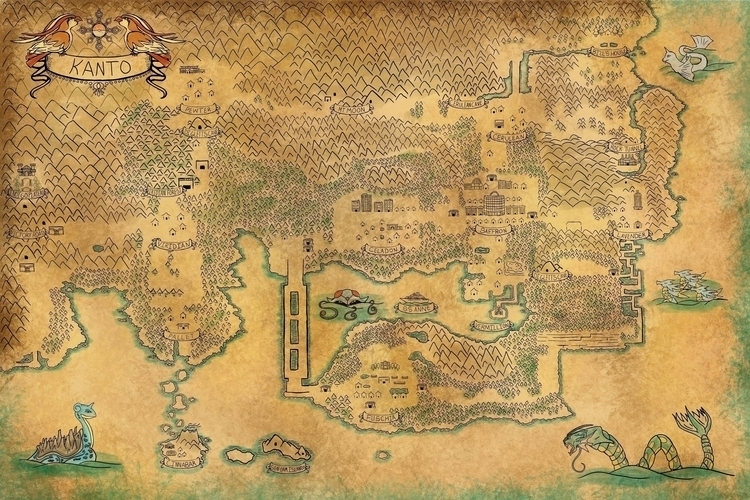Kanto - illustration, map, vintagemap - kayla_catherine | ello
