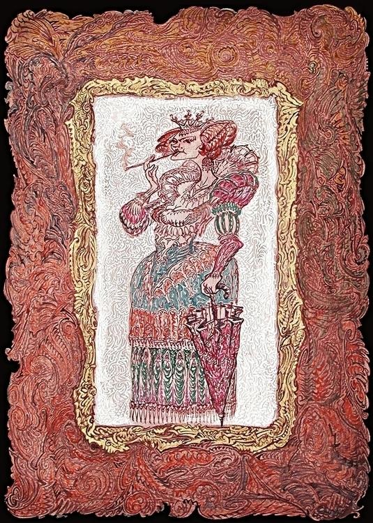 Ornate cartoon Cruella de Vil - CruelladeVil,wickedlady, - grabbo   ello