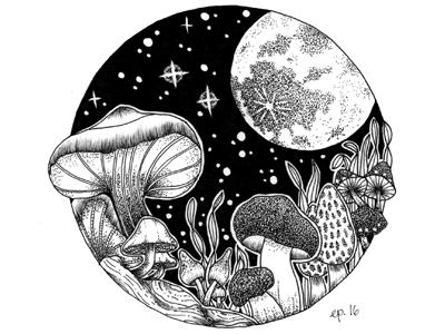 Magic Mushrooms - Night 3 - illustration - ellenparzer | ello