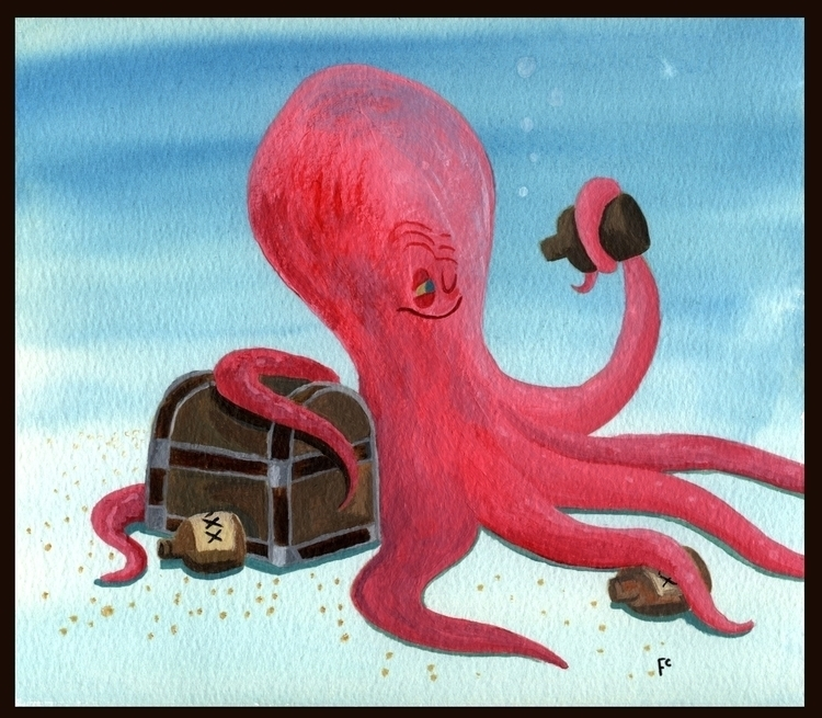 Drunken Octopus - octopus, illustration - finbarcoyle | ello