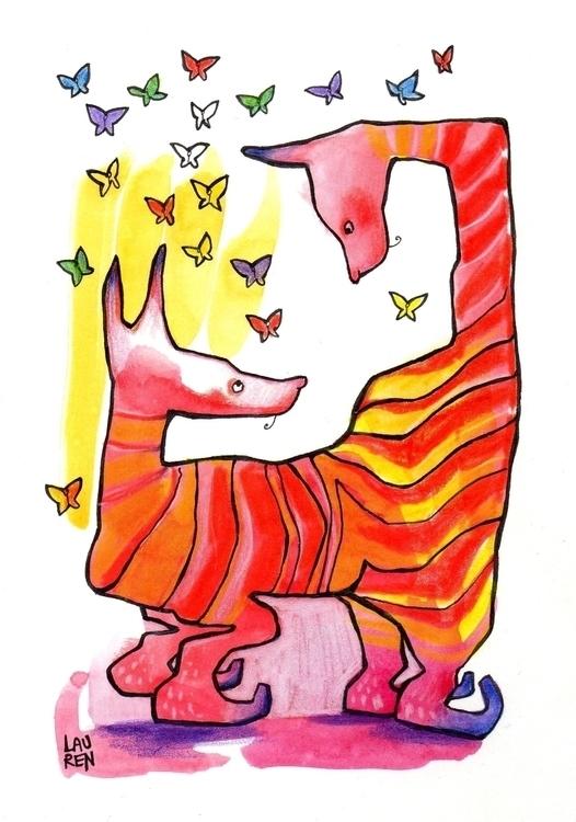 Talking - doodlesmudge, ink, watercolour - theartoflauren   ello