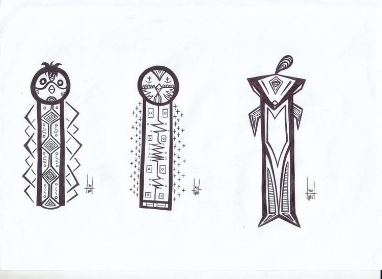 totems designs 14-16 - blackandwhite - h3ml0ck | ello