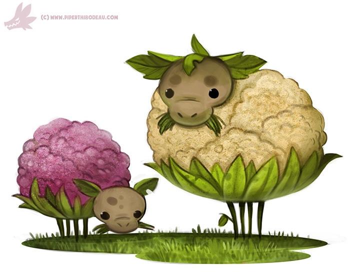Daily Paint Cauliflower Sheep - 1096. - piperthibodeau   ello