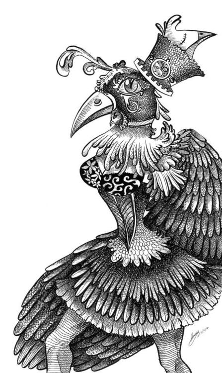 bird, steampunk, nanquin, blackandwhite - cindynakashima | ello