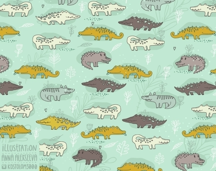 Crocodile pattern - illustration - annaalekseeva | ello