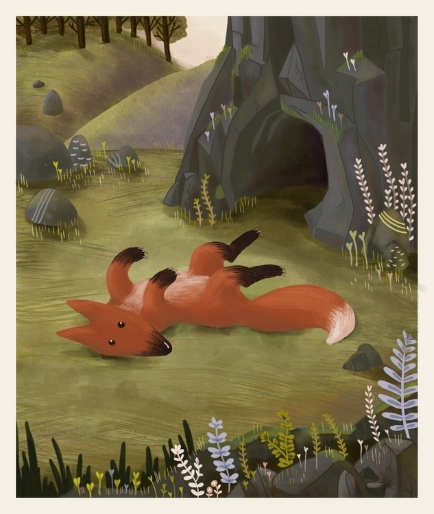 Fox spring - fox, cave, flowers - manjaciric | ello