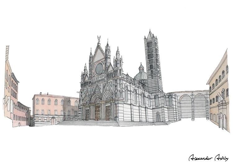 Duomo Siena - illustration, architecture - alexanderashby | ello