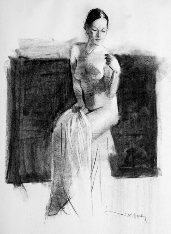 Beauty 18x24 charcoal newsprint - camm182 | ello