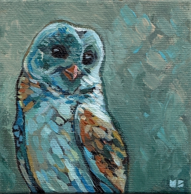 4x4 barn owl. Sold - barnowl, acrylic - hootbark-1142 | ello