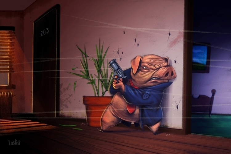 COMISSIONER PIG - illustration, painting - pablo_lastra | ello