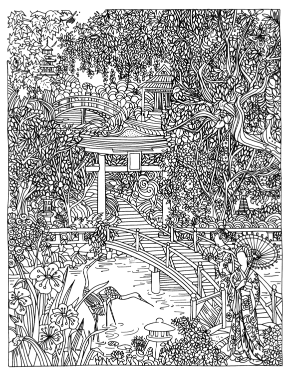 Japanese garden - illustration, mandala - eu6eni | ello