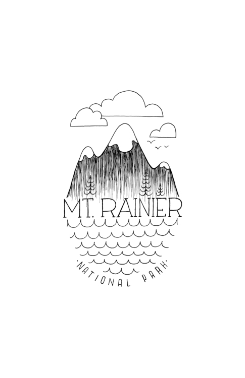 Stylized ink illustration Mt. R - justinmilgate | ello