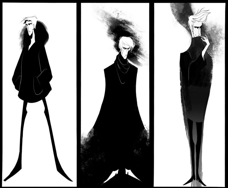 characterdesign, blackandwhite - dykah | ello