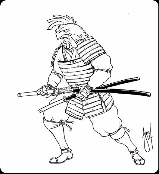 Samurai Rooster Line - illustration - jasonmartin-1263 | ello