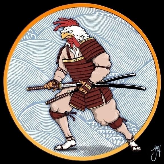 Samurai Rooster rendition 1 - illustration - jasonmartin-1263 | ello